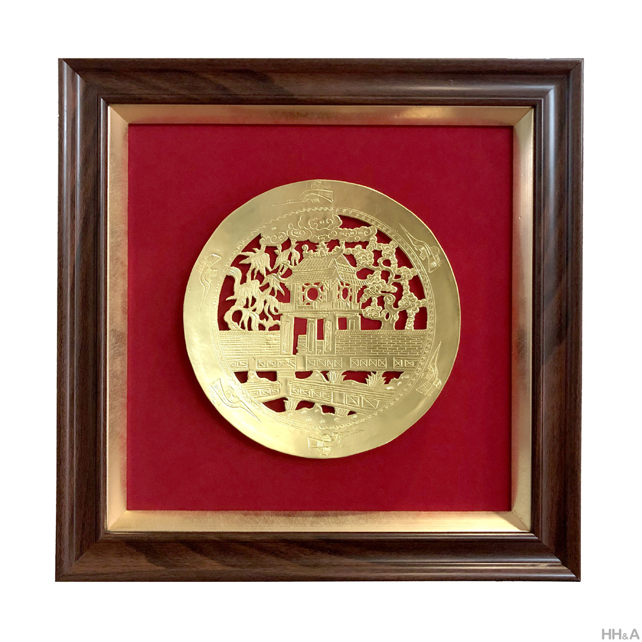 Tranh đĩa đồng chạm thủng KVC phi 20