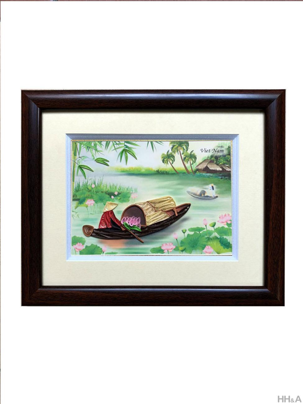 tranh giấy cuốn thuyền sen