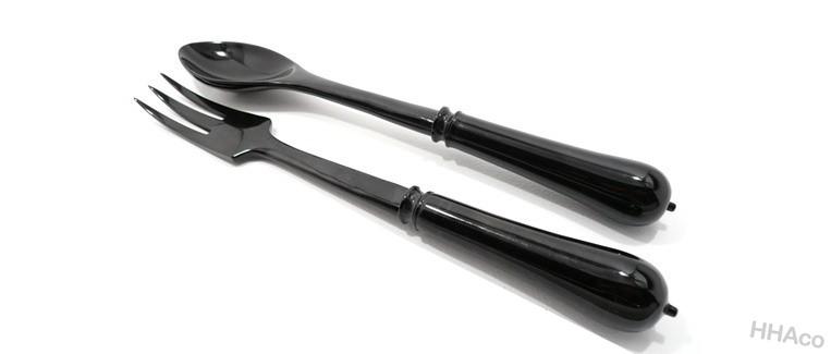 Thìa dĩa sừng đen chuôi tròn