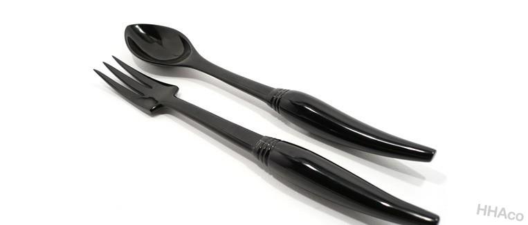 Thìa dĩa sừng đen chuôi cong