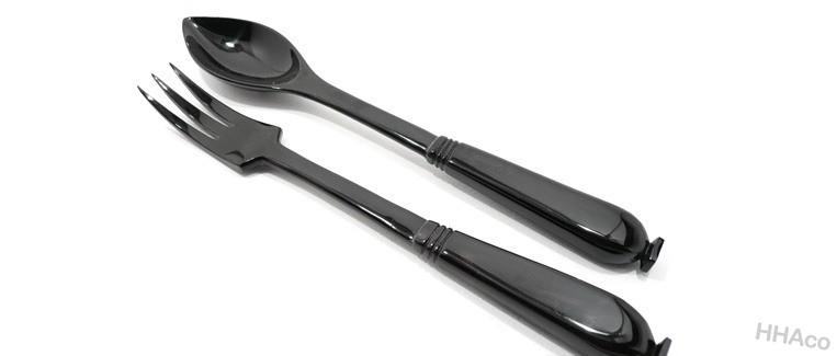 Thìa dĩa sừng đen chuôi vuông