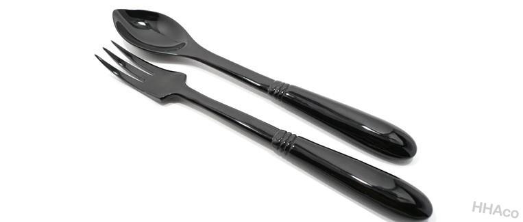 Thìa dĩa sừng đen chuôi dẹt