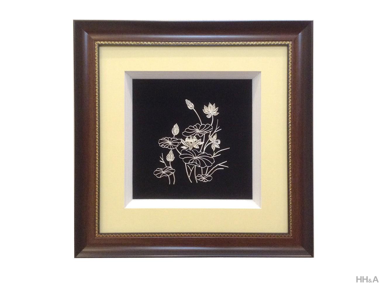 Tranh bạc hoa sen 43x43